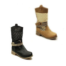 WOMENS LADIES PULL ON COWBOY BUCKLE ANKLE BOOTS BOOTEIS SHOES SIZE 3-8