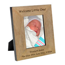 New Baby Girl, New Baby Boy personalised Photo Engraved Frame 6x4 or 5x7  wood