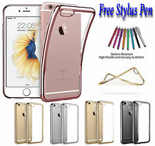 Slim Metal Effect Shockproof Silicone Bumper Soft Gel Case Cover For iPhone 5 5s