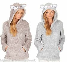 Ladies Coral Super Soft Animal Hood Snuggle Fleece Hoody Luxurious Warm Top