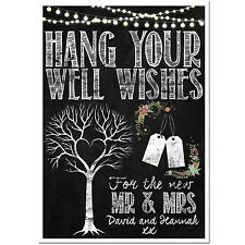 PERSONALISED chalkboard style wedding Wishing Tree sign guest book Free UK post