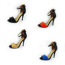 NEW WOMENS LADIES ANKLE STRAP HIGH STILETTO HEEL COURT SHOES SANDALS SIZE 3-8