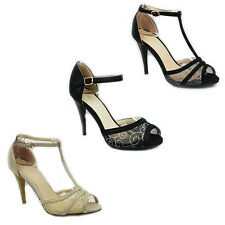 WOMENS LADIES HIGH HEEL PEEP TOE T-BAR ANKLE STRAP COURT SHOES SANDALS SIZE 3-7