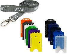 STAFF Lanyard Neck Strap With Colour Choice ID Card Pass Badge Holder FREEPOST
