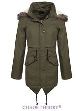Brave Soul Womens Ladies Fishtail Jacket Oversized Fur Hooded Parka Coat