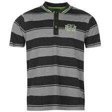 Everlast Mens Yarn Dye Bold Stripe Polo Shirt Grey/Charcoal New