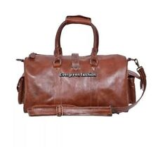 DUFFLE Burnish Brown Medium Weekend Holdall Travel Gym Real Genuine Leather Bag