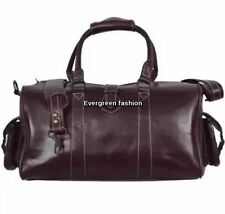DUFFLE' Brown Medium CLASSIC Weekend Holdall Travel Gym Real Genuine Leather Bag
