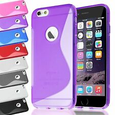 Wave S-Line Soft Gel Back Case Skin Cover for iPhone Mobiles + Screen Protector