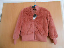 Lovely  Girls Furry Dark Peach Zip front jacket, BNWT, George