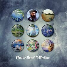 Claude Monet Fine Art Painting 38mm Badges & Fridge Magnet set classic