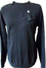 SUPREMEBEING Jumper Mens Crew Neck Knit Top Black & Grey Sizes: S, M, L, XXL