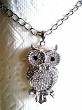 Silver Tone/Gold Tone Long Chain Large Owl Pendant Crystal Necklace
