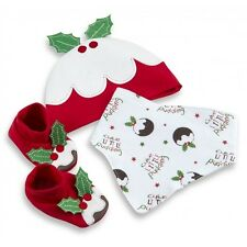 BABY BOY GIRL GIFT SETS,HAT BOOTEES BIB SET,100% COTTON,CHRISTMAS SET 0-3 3-6MTH