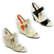 WOMENS LADIES STRAPPY SLIM WEDGE HEEL SLINGBACK SANDALS SHOES SIZE 3-7