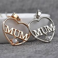 Love Gold & Silver Heart MUM Pendant Necklace Chain Xmas Gifts For Her Mom Women