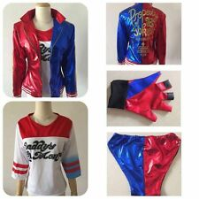 Full 4 Piece Harley Quinn Suicide Squad Women's Halloween Costume S, M, L, XL