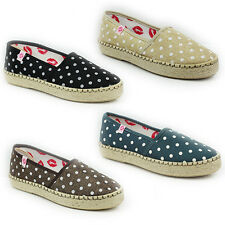 WOMENS LADIES FLAT CHUNKY WEAVE SOLE SLIP ON PUMPS ESPADRILLES SHOES SIZE 3-8