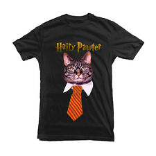 Hairy Pawter Cat T-shirt Harry Potter Funny Cat Tee White Black Tee All sizes