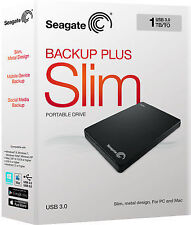 "Seagate Backup Plus slim 2.5"" Hard Drive 1 TB External Hard Disk USB 3.0/2.0"