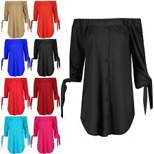 Ladies Button Down 3/4 Tie Sleeve Shirt Dress Womens Curved Hem Off Shoulder Top