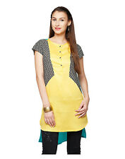 Yepme Valerie Asymmetrical Kurti - Yellow & Blues(YPMKURT1394)