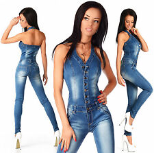 ooSexy New Women's Denim Jeans Navy Playsuit Jumpsuit  Overall Skinny Slim X 612