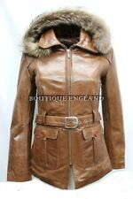 New Ladies Tan Classic Mid-Length Fur Hood Real Glaze Hide Leather Jacket Coat