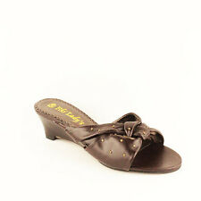 WOMENS LADIES SLIP ON MID HIGH WEDGE HEELS MULES CLOGS SHOES SANDALS SIZE 3-8