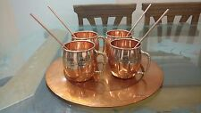 AsiaCraft Copper Charger Plate & 4 Pure Barrel Copper Moscow Mug Set with Straw
