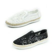 WOMENS LADIES FLAT WEAVE SOLE SLIP ON FLORAL ESPADRILLES PUMPS SHOES SIZE 3-8
