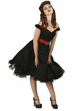 Brand New Collectif Vintage Style Dolores Swing Dress in Black Rockabilly 50s
