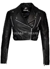 Ladies Women's Black Short Cropped Biker Jacket- Lamb-Sheep Nappa Leather Jacket