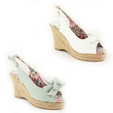 WOMENS LADIES PLATFORM HIGH WEDGE HEEL CANVAS SANDALS ESPADRILLES SHOES SIZE 3-7