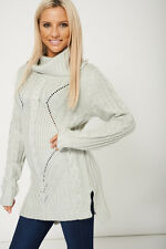 WOMENS LADIES KNITWEAR Long Sleeves Cowl Neck Loose Fit Comfy Jumpers - S M L