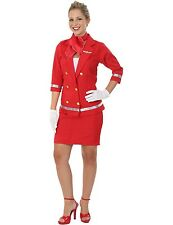 Ladies Sizzling Red Air Hostess Virgin Dolly Cabin Fancy Dress Costume