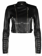 Ladies Women's Short Cropped Biker Jacket Lamb Sheep Nappa Soft Leather Jacket