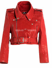 Ladies Women's Red Short Cropped Biker Lamb Sheep Nappa Leather Glamorous Jacket