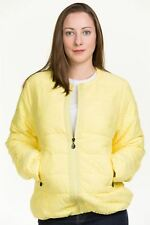 Ladies Down Jacket Lace Padded Quilted Lining Zipper Crew Neck Warm Coat Yellow