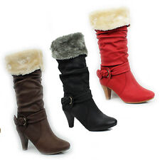 WOMENS CASUAL MID CALF FOLD OVER FUR CUFF CUBAN HEEL BOOTS LADIES SHOES SIZE 3-8