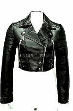 Ladies Women's Black Short Cropped Biker Lamb-Sheep Nappa Soft Leather Jacket