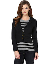 Harpa Long Sleeve Notched Collar With Buttons Solid Black Womens Jacket