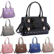 Ladies Structured PU Leather Crocodile Print Shoulder Tote Handbag Bag Purse