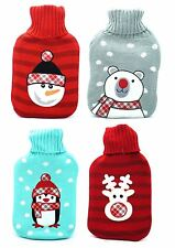 Knittted Winter Hot Water Bottle & Cover Warming Cosy Christmas