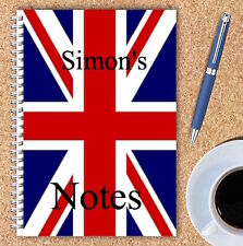 A5 & A4 PERSONALISED NOTEBOOKS, NOTE BOOK, NOTE PAD, 50 LINED OR BLANK /FLAG1