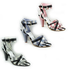 WOMENS LADIES STRAPPY HIGH HEEL ANKLE STRAP CHECKED SANDALS SHOES SIZE 3-8