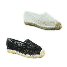 WOMENS LADIES FLAT SLIP ON CROCHET FLOWER CANVAS MESH ESPADRILLES SHOES SIZE 3-8