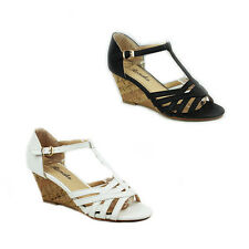 WOMENS LADIES CASUAL STRAPPY WEDGE HEEL T-BAR ANKLE STRAP SANDALS SHOES SIZE 2-7