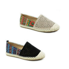WOMENS LADIES WEAVE SOLE AZTEC PRINT CANVAS ESPADRILLES PUMPS SHOES SIZE 3-8