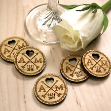 Personalised Rustic Wooden Cupid's Arrows Charm Wedding Favours Table Confetti